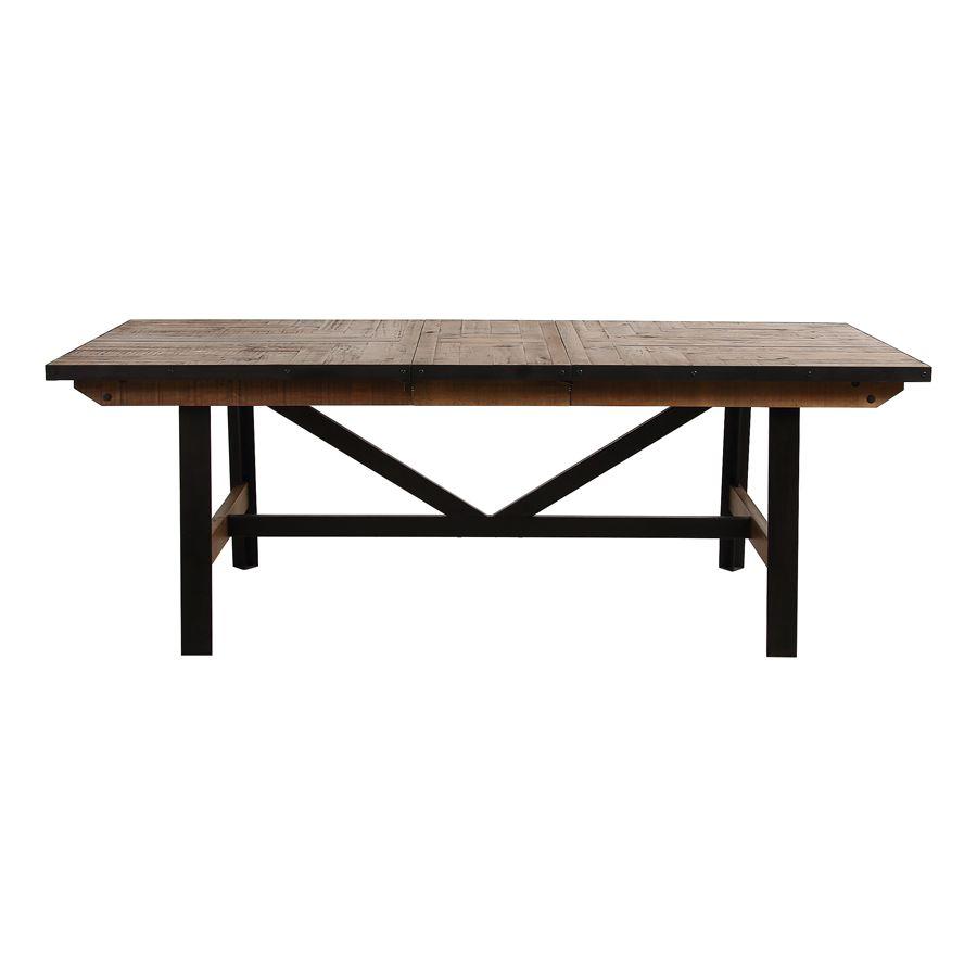 Table rectangulaire extensible industrielle en bois recyclé et métal - Manufacture