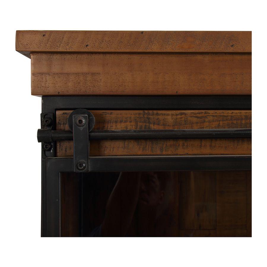 Buffet vitré industriel en bois recyclé et acier - Manufacture