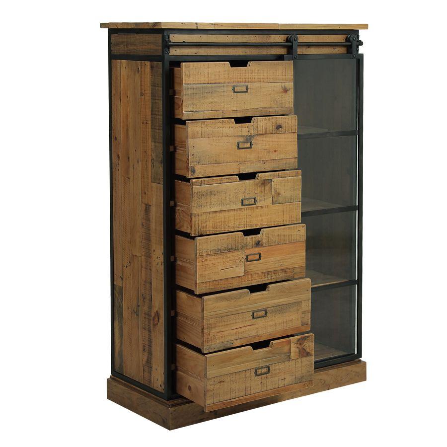 Commode 6 tiroirs avec porte vitrée en bois recyclé et acier - Manufacture