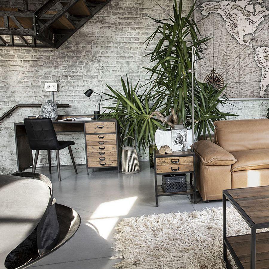 Bureau industriel en bois recyclé et acier - Manufacture