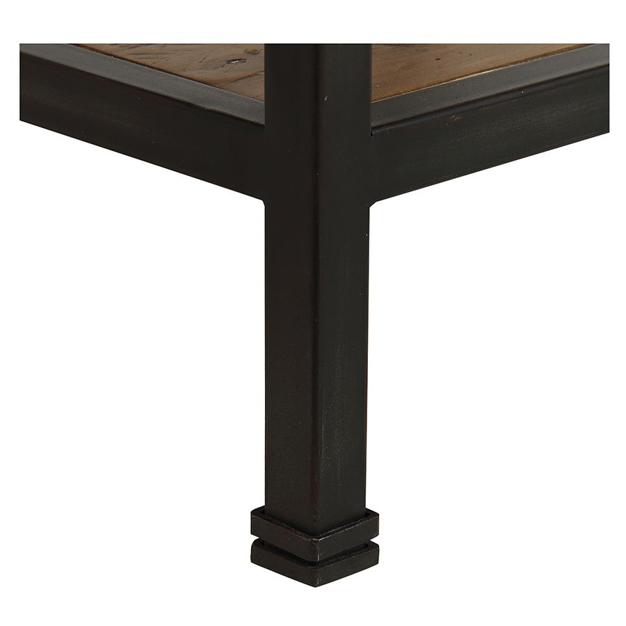 Table de chevet industrielle en bois recyclé et métal - Manufacture