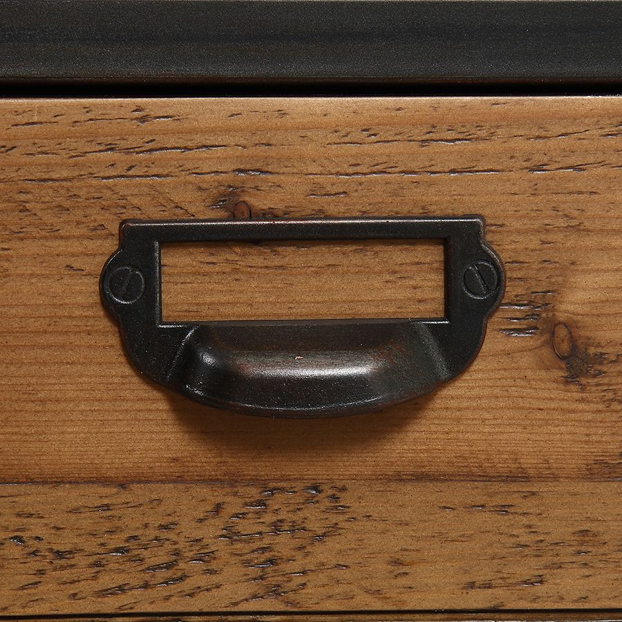 Meuble d'entrée industriel en bois recyclé et métal - Manufacture