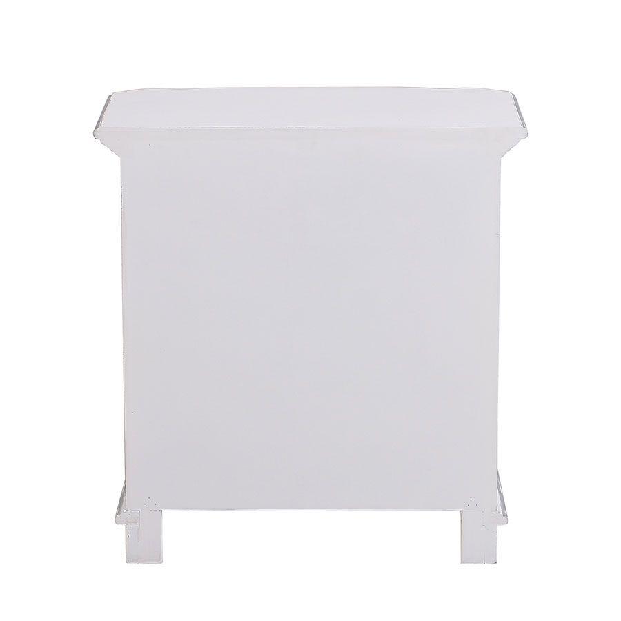Table de chevet blanche 2 tiroirs en bois - Monceau