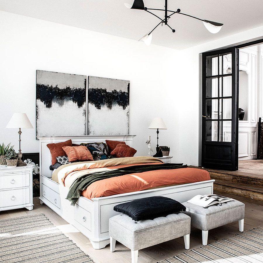 Lit 180x200 avec tiroirs en bois blanc satiné - Monceau
