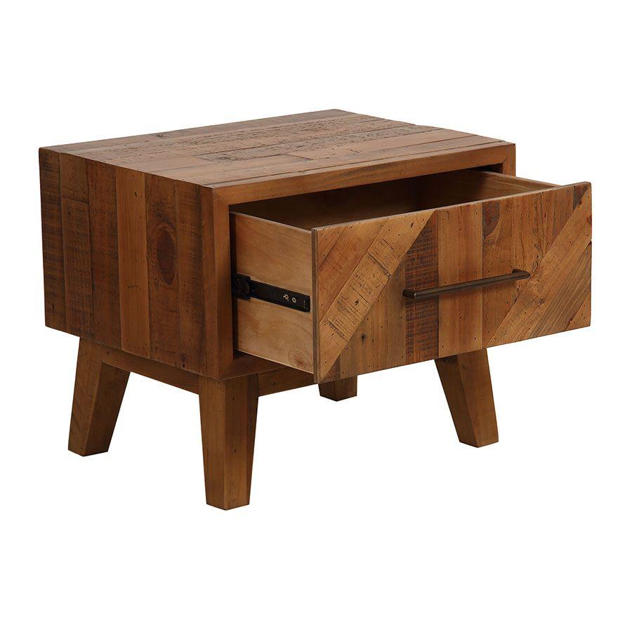 Table de chevet en bois recyclé - Empreintes