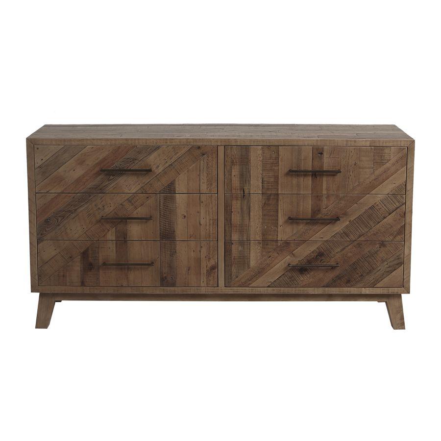 Commode 6 tiroirs en bois recyclé naturel grisé - Empreintes