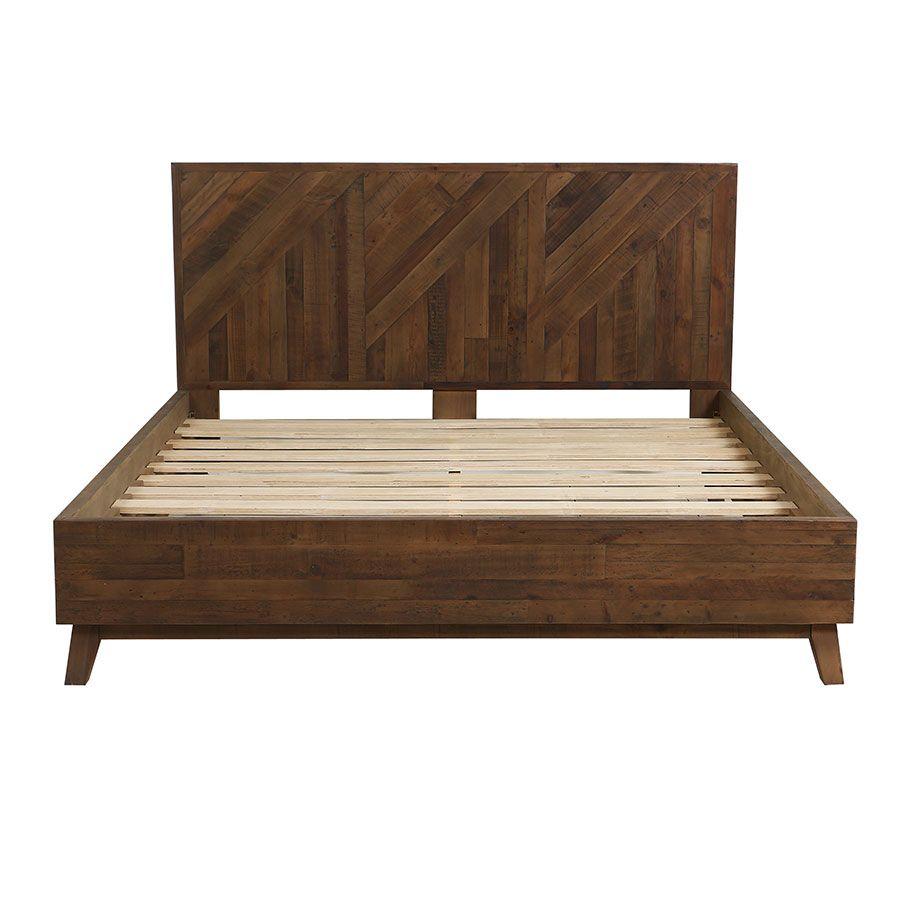 Lit 180x200 en bois recyclé naturel grisé - Empreintes
