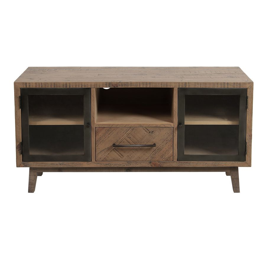 Meuble TV en bois recyclé naturel grisé 1 tiroir – Empreintes