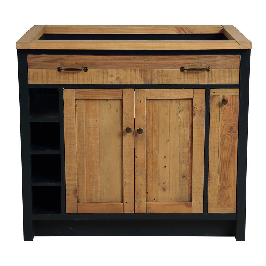 Meuble pour évier en bois recyclé bleu navy - Rivages