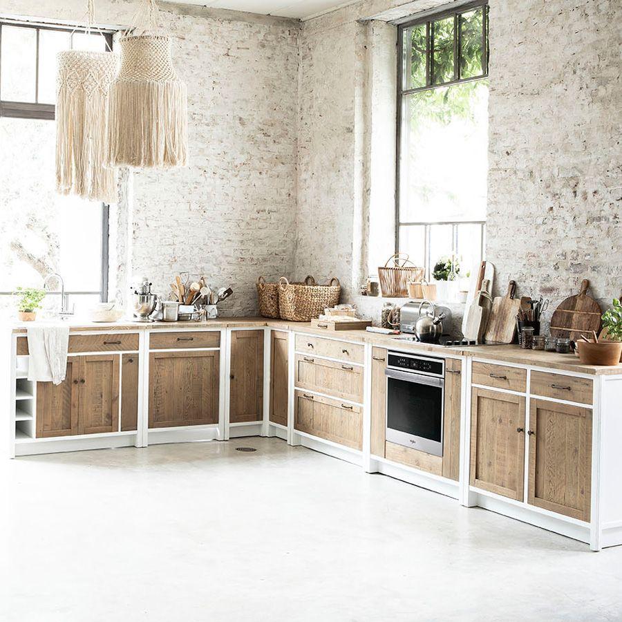 Casserolier 3 tiroirs en bois recyclé blanc - Rivages