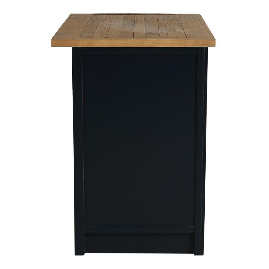 Casserolier 3 tiroirs en bois recyclé bleu navy - Rivages