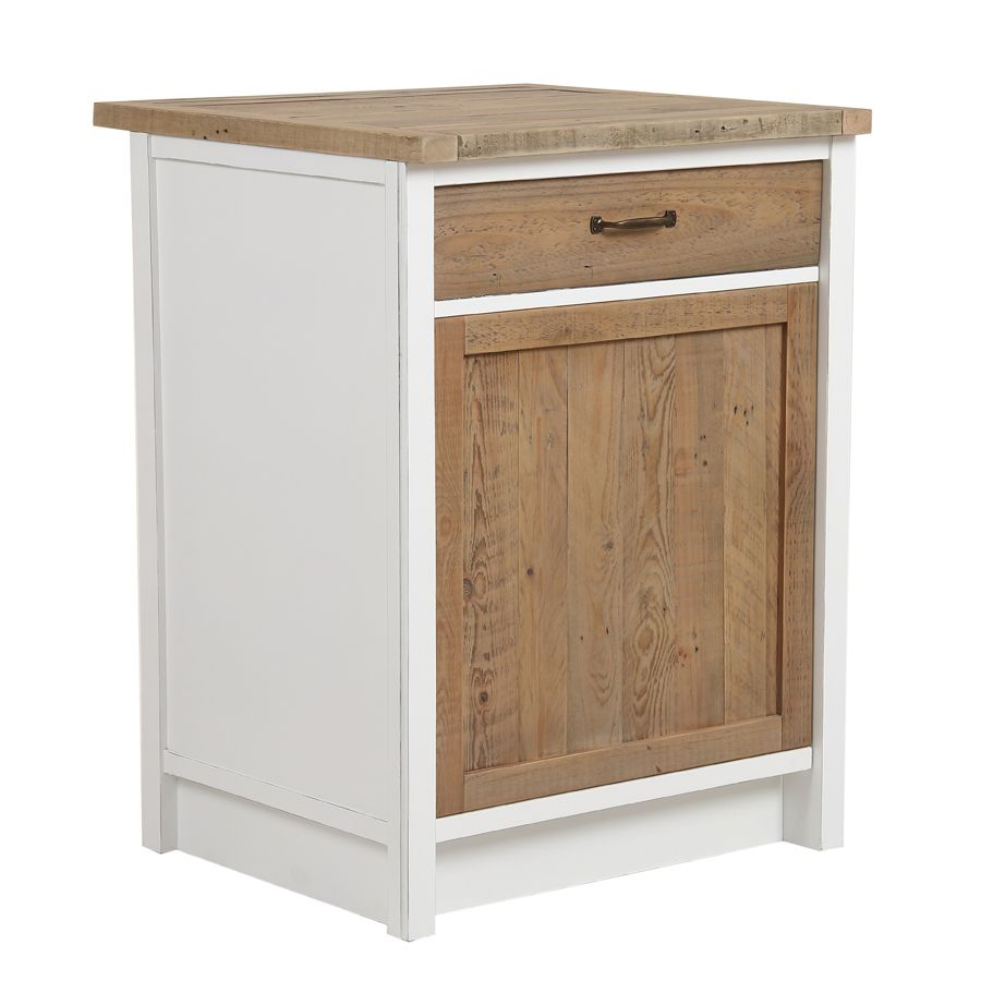 meuble bas pour lave vaisselle en bois recycle blanc rivages