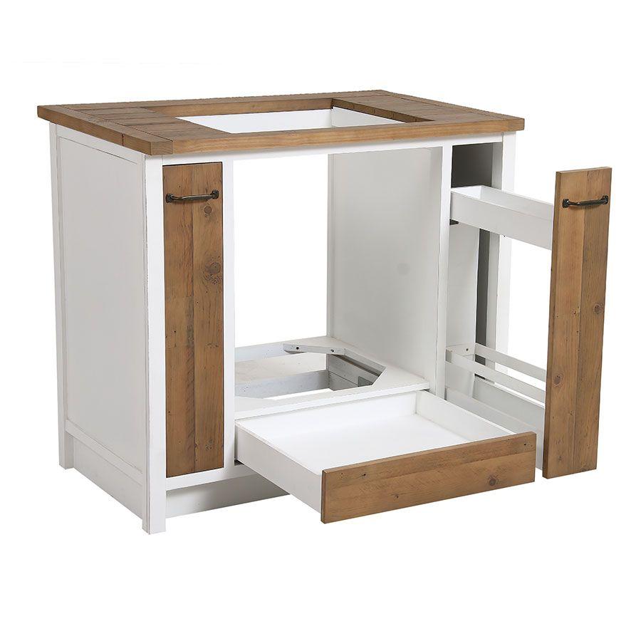 Meuble bas de cuisine pour four et plaque en bois recyclé blanc - Rivages