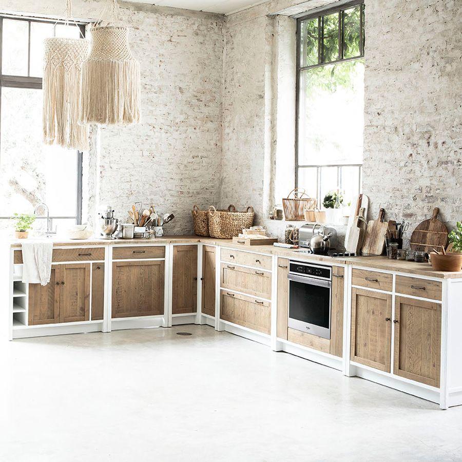 Meuble de cuisine bas 2 portes 2 tiroirs en bois recyclé blanc - Rivages