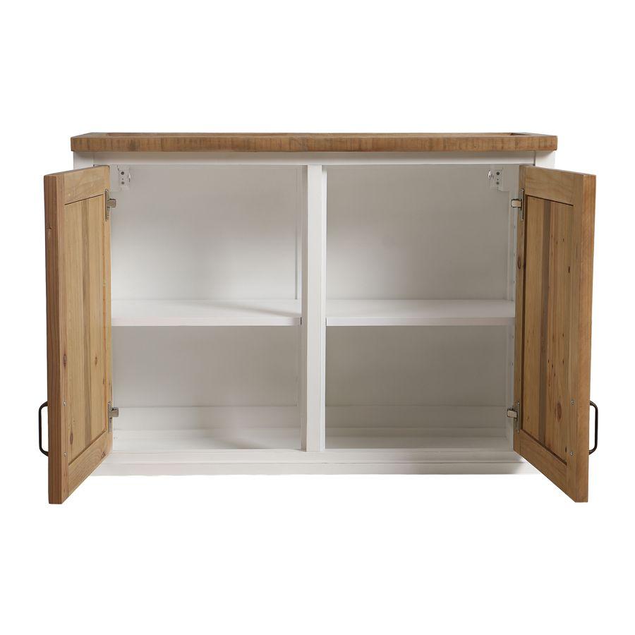 Meuble de cuisine haut 2 portes en bois recyclé blanc - Rivages
