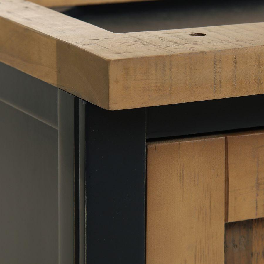Meuble de cuisine haut 2 portes en bois recyclé bleu navy - Rivages