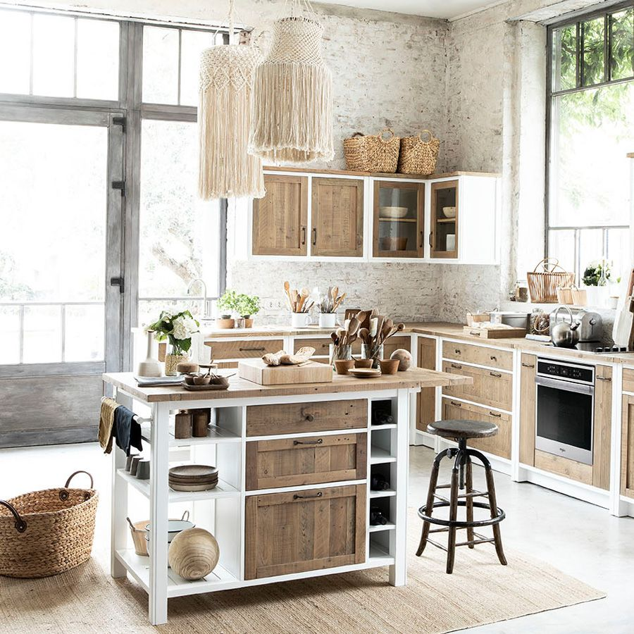 Meuble de cuisine haut d'angle 2 portes vitrées en bois recyclé blanc - Rivages