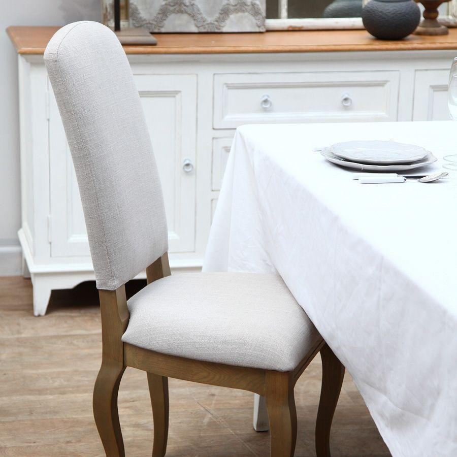 Chaise en frêne massif et tissu beige - Romy