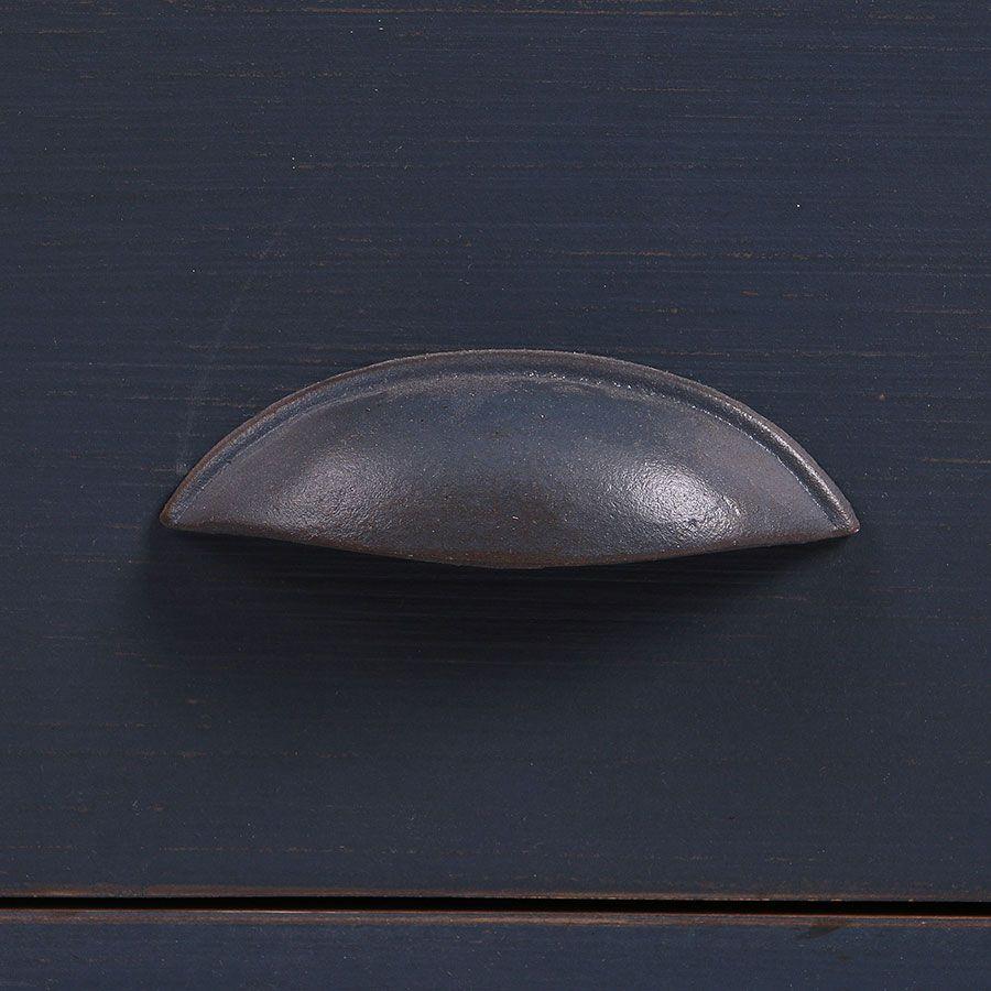 Buffet bas de cuisine 1 porte en pin bleu grisé vieilli - Brocante