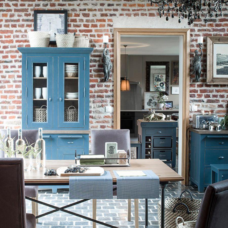 Buffet bas de cuisine 2 portes en pin bleu grisé - Brocante