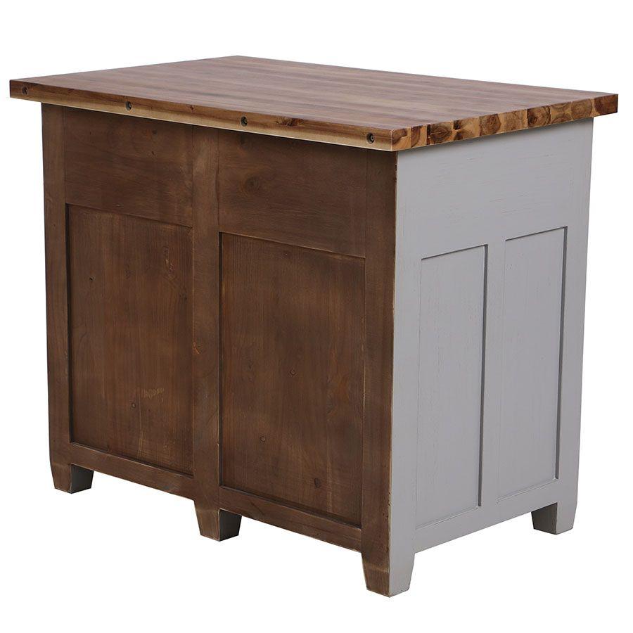 Buffet bas 2 portes 2 tiroirs en pin gris perle vieilli - Brocante