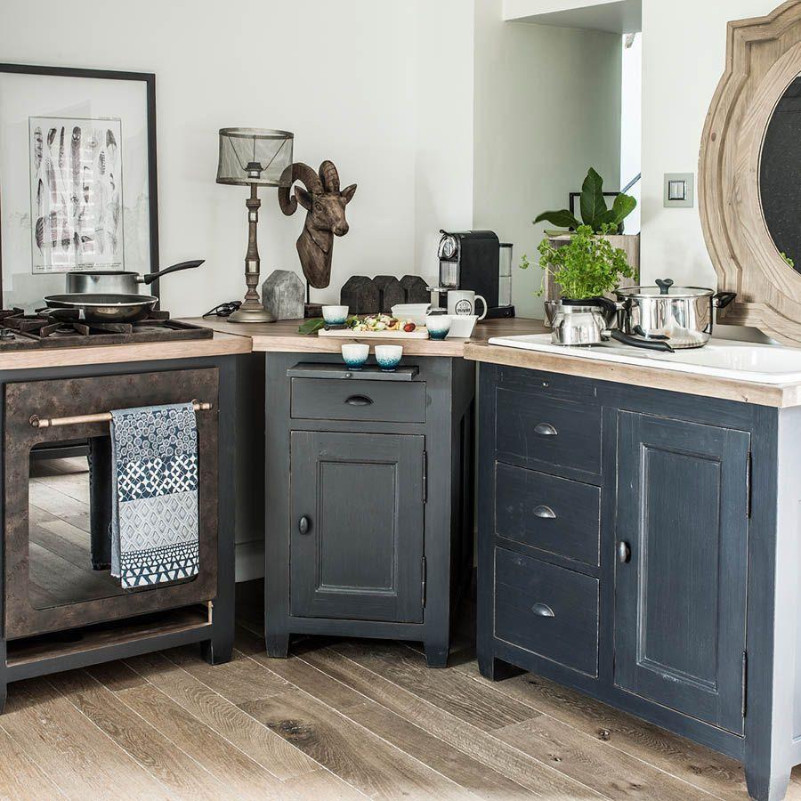 Meuble bas de cuisine pour évier en pin noir graphite - Brocante