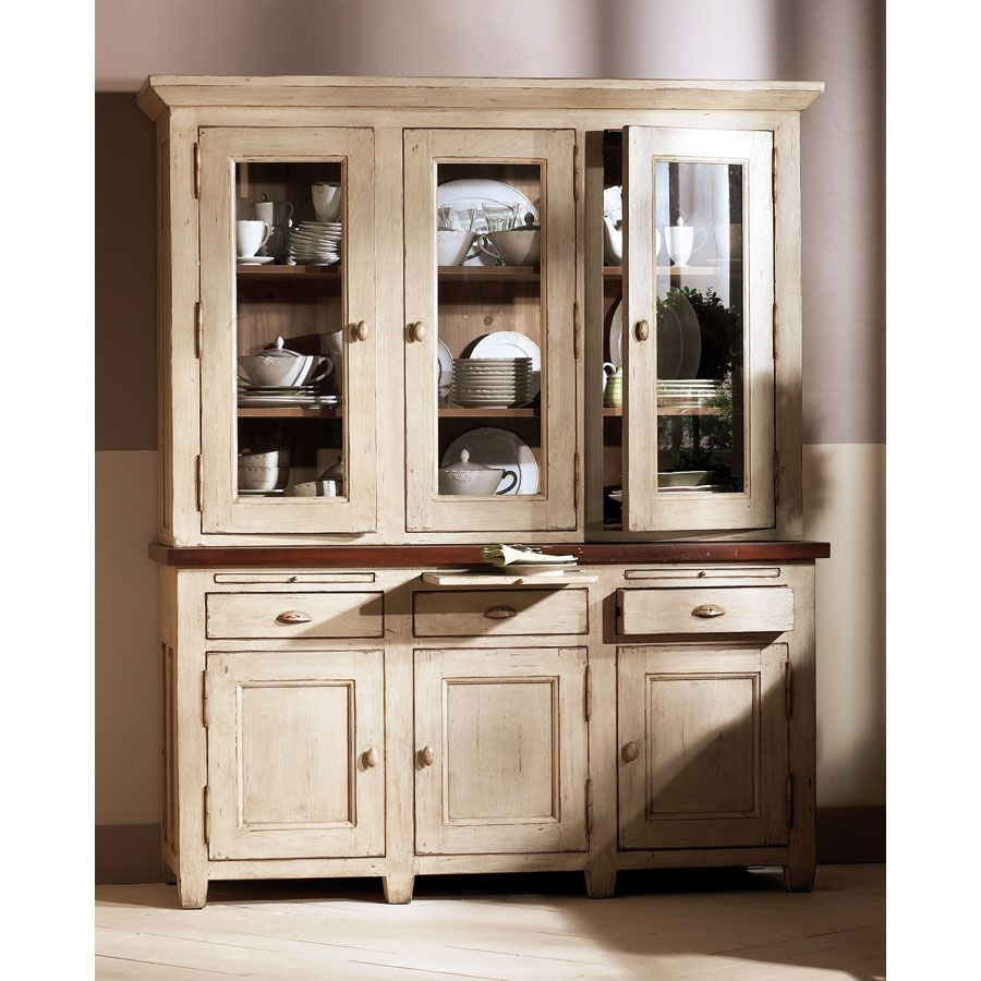 Haut de buffet vaisselier 3 portes vitrées en pin - Brocante