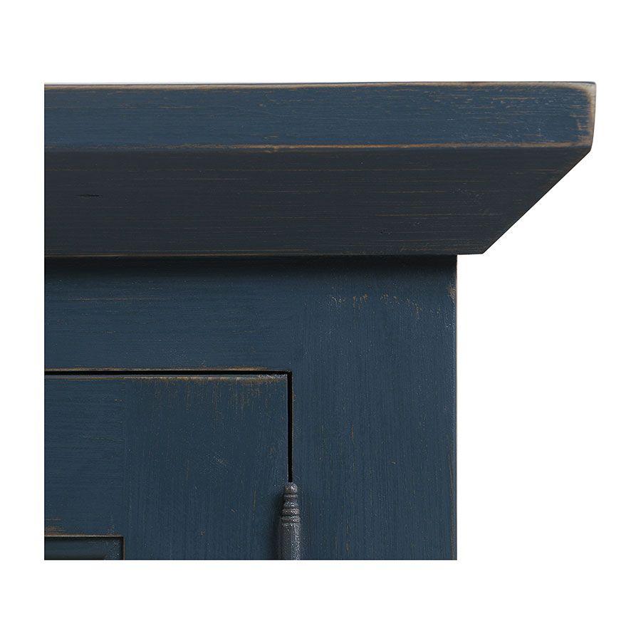 Haut de buffet vaisselier 3 portes vitrées en pin bleu grisé vieilli - Brocante