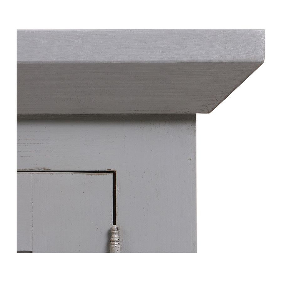 Haut de buffet vaisselier 3 portes vitrées en pin gris perle vieilli - Brocante