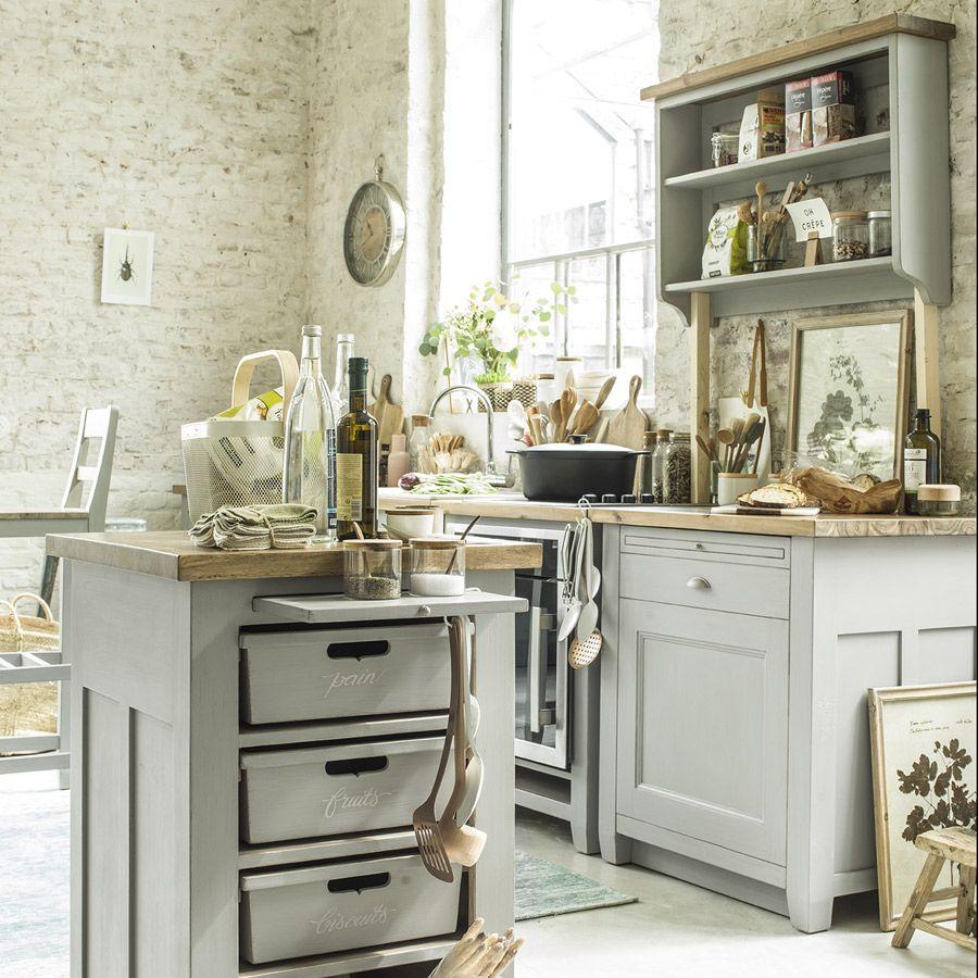 Habillage De Meuble De Cuisine meuble de cuisine pour lave-vaisselle en pin gris perle - brocante