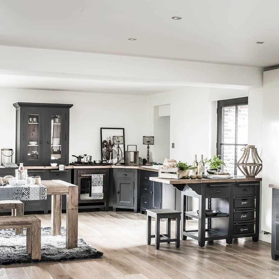 Meuble bas de cuisine pour four et plaque en pin noir graphite - Brocante