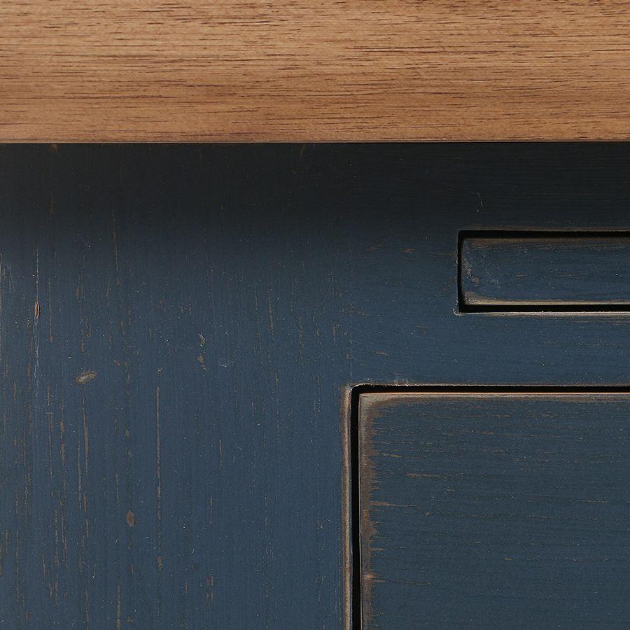 Meuble bas de cuisine pour four et plaque en pin bleu grisé - Brocante