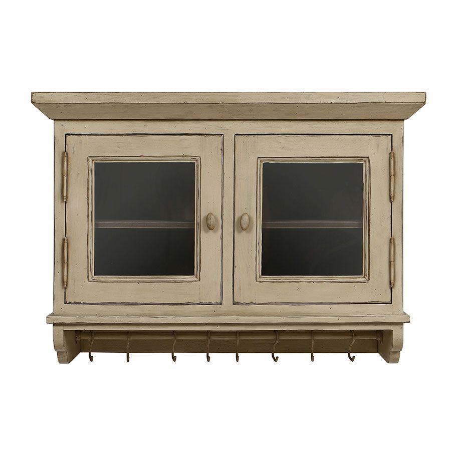 Meuble haut de cuisine portes vitrées en pin - Brocante