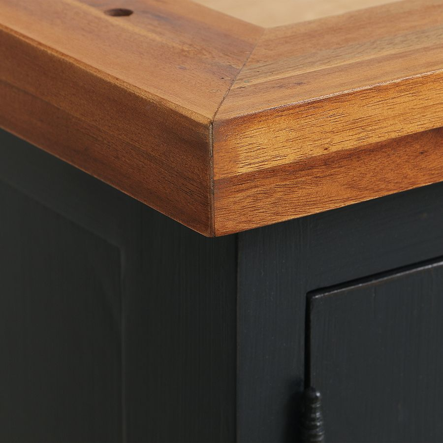 Meuble de cuisine haut vitré 3 modules en pin noir graphite - Brocante