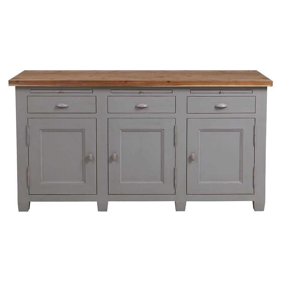 Buffet bas de cuisine 3 portes en pin gris perle vieilli - Brocante