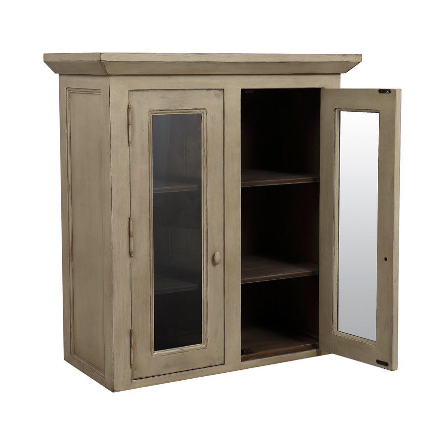 Haut de buffet vaisselier 2 portes vitrées en pin - Brocante