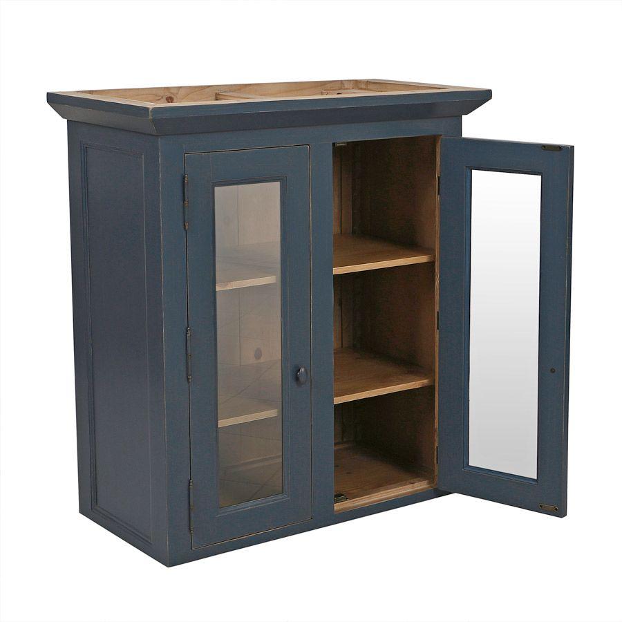 Haut de buffet vaisselier 2 portes vitrées en pin bleu grisé - Brocante