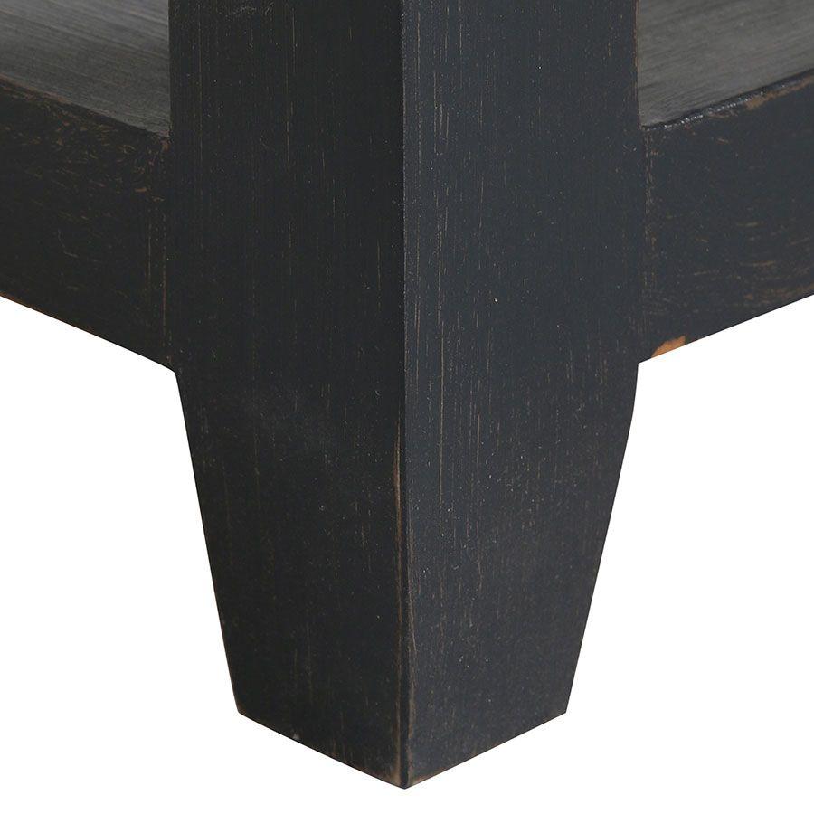 Console noire 2 tiroirs en pin massif - Brocante