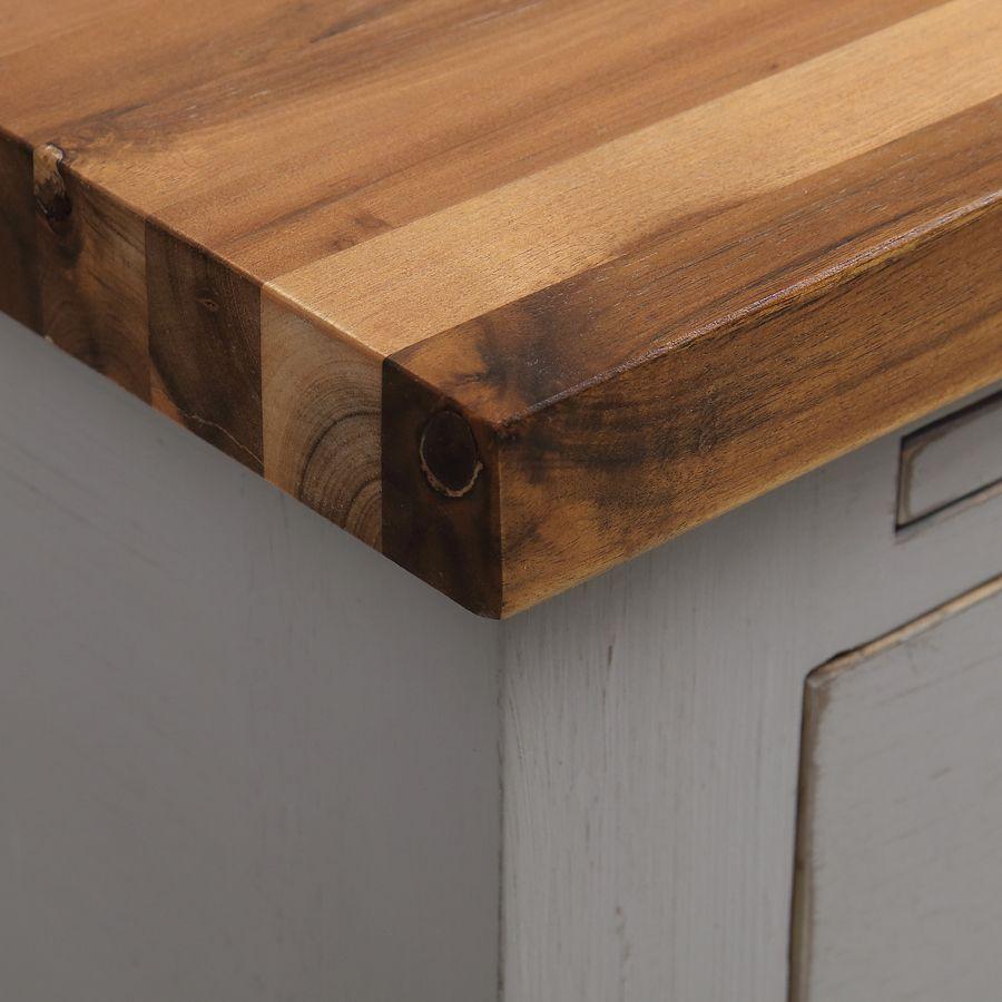 Meuble de cuisine pour évier en pin gris perle - Brocante