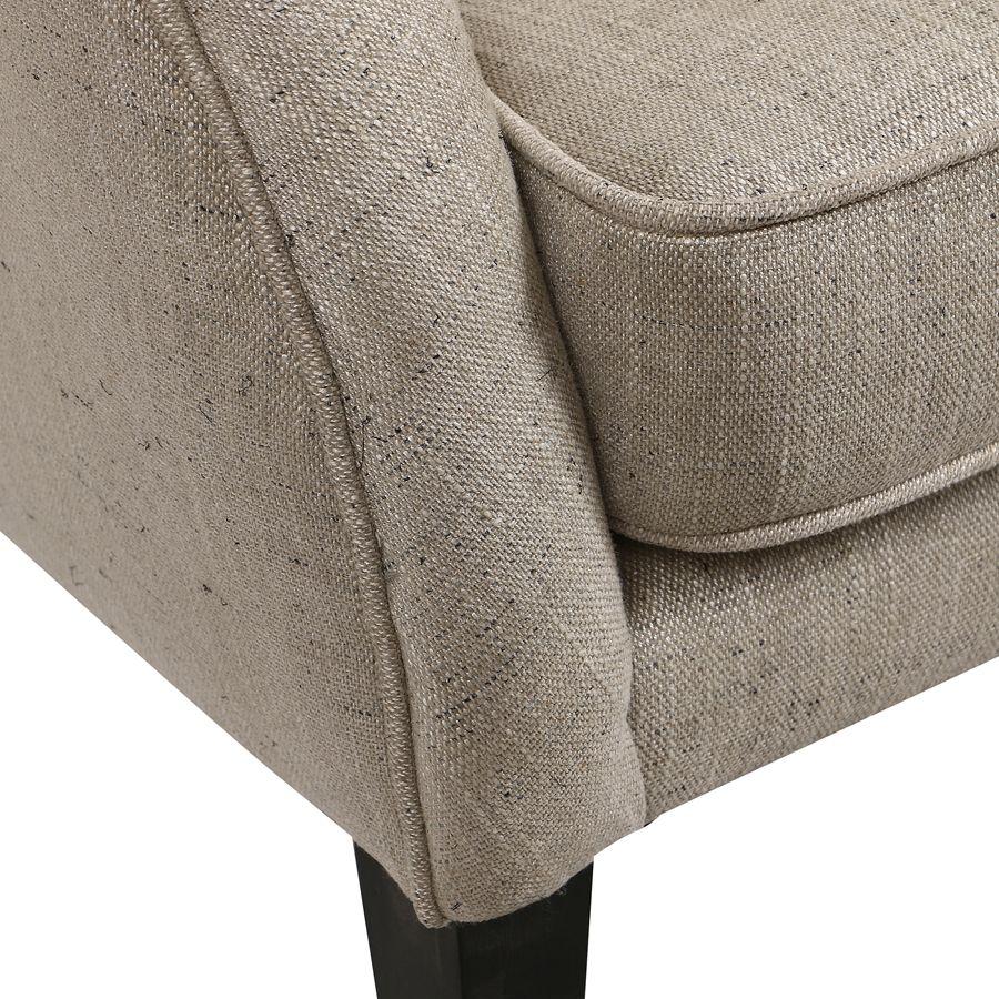 Banquette 2 places en tissu mastic grisé et hévéa massif - Clarence