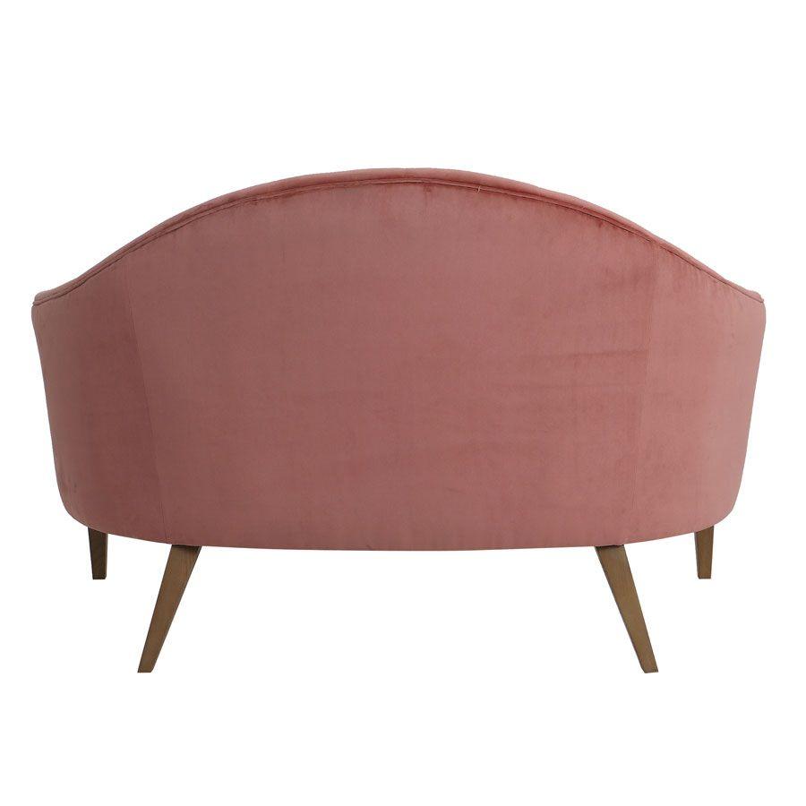 Banquette 2 places en velours rose - Clarence