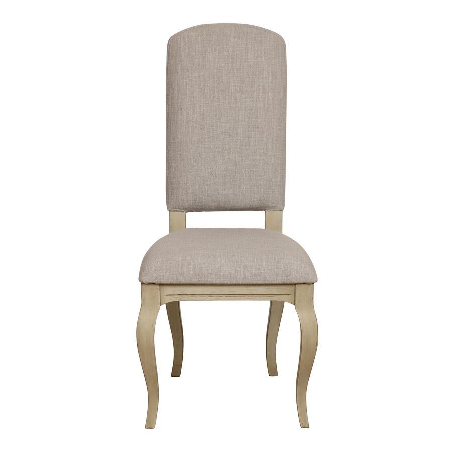 Chaise en tissu beige et hévéa massif - Romy