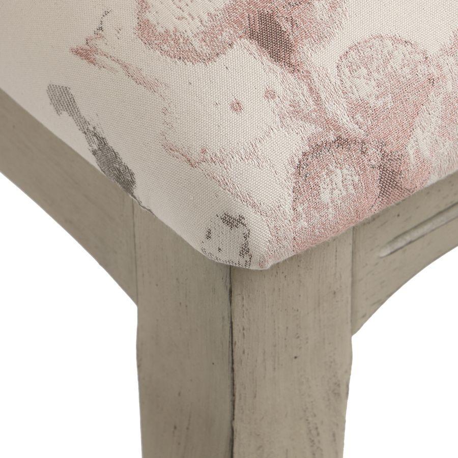 Chaise en hévéa massif et tissu fleurs opaline - Romy