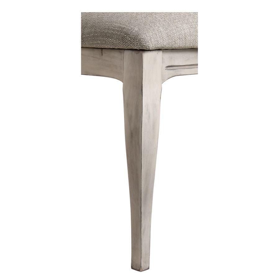 Chaise en hévéa et tissu losange gris - Romy