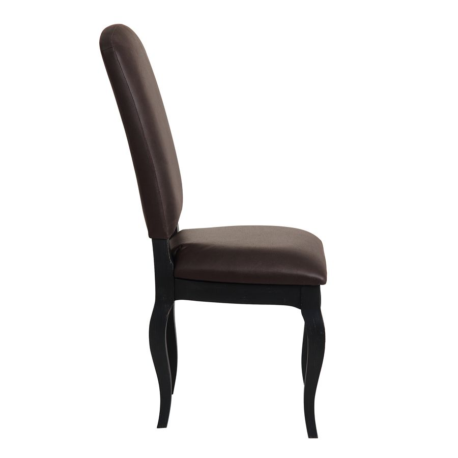 Chaise en frêne massif et éco-cuir chocolat - Romy