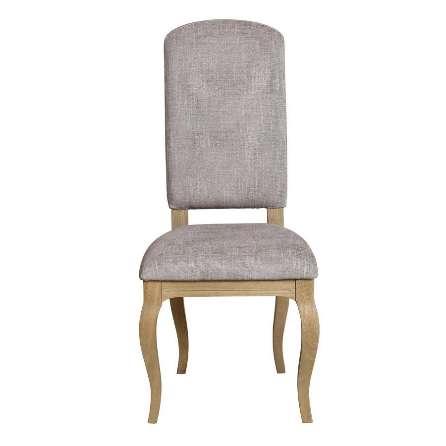 Chaise en frêne et tissu gris chambray - Romy