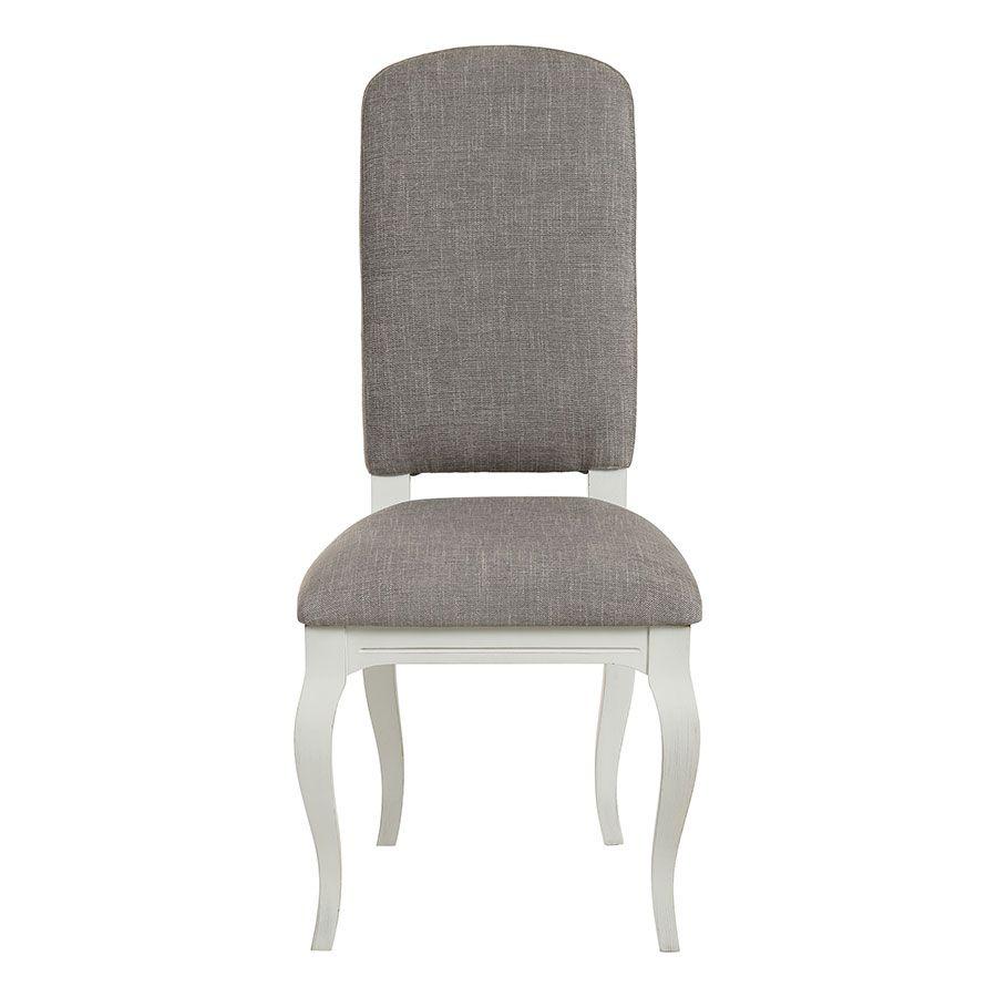 Chaise en tissu gris chambray et hévéa massif - Romy