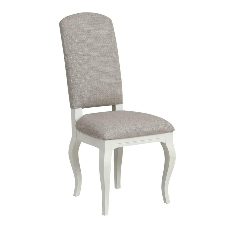 Chaise en tissu losange gris et hévéa massif - Romy