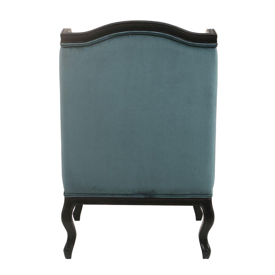 Fauteuil bergère en hévéa et tissu vert bleuté - Césarine