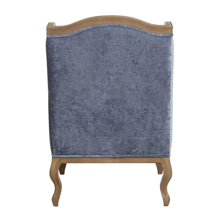 Fauteuil bergère en tissu velours bleu - Césarine